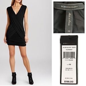 BCBG Alondra Gathered Cocktail Mini Dress NEW $198